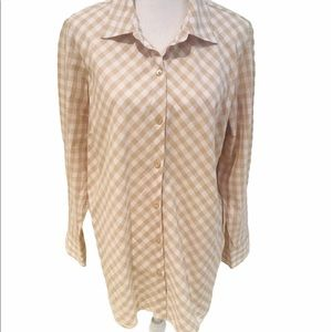 Joan rivers long gingham cotton shirt with pockets